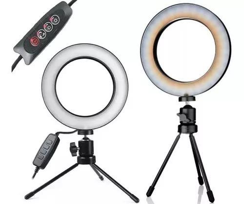 Ring light tripé mesa iluminador youtuber maquiag
