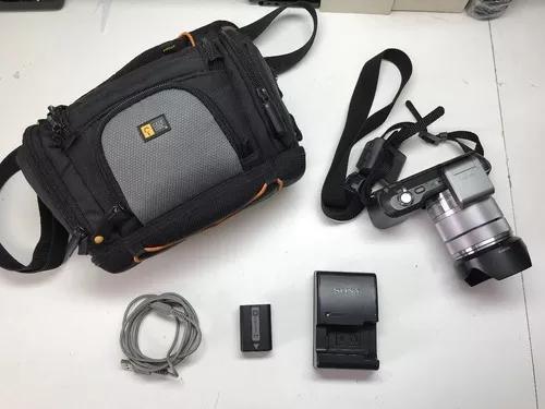 Sony alpha nex-3 c/ lente sel1855 + flash hvl-f7s + bolsa