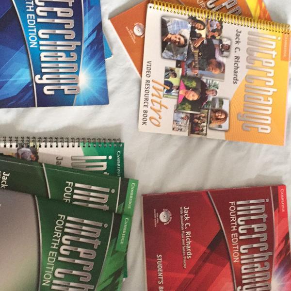 8 livros de inglês interchange intro, 1, 2 e 3