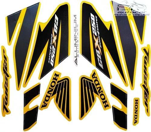 Kit jogo faixa adesiva cbx twister 250 amarela 2008