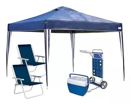 Kit praia gazebo 3x3 + 2 cadeiras alta + carrinho c/ avanço