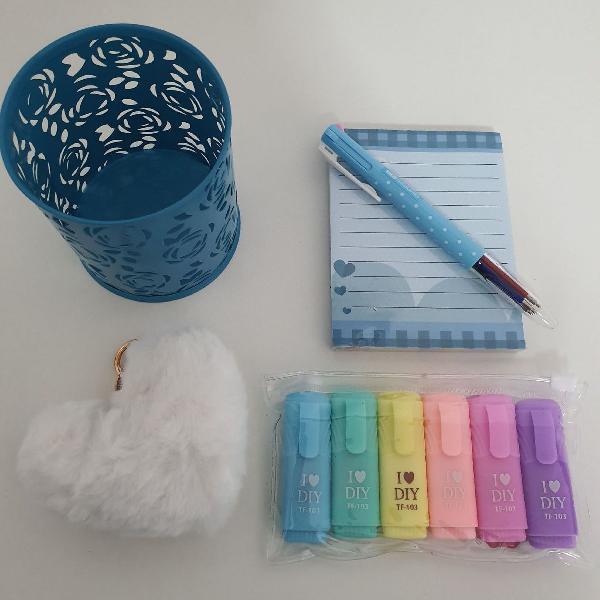 Kit papelaria azul