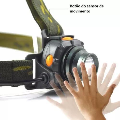 Lanterna cabeça recarregável sensor de movimento frete