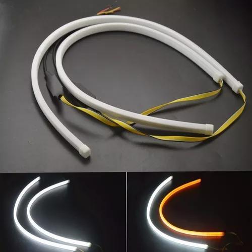 Par barra led drl neon branca âmbar 60cm farol sequencial