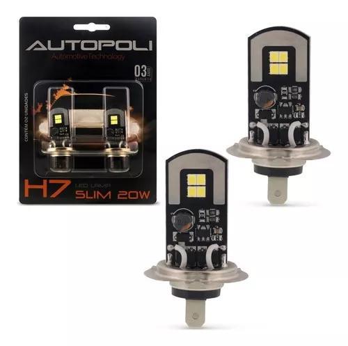 Par lâmpadas led h7 6500k 12v 24v 20w 2600lm efeito xênon