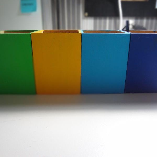 Kit 4 porta canetas/lápis/objetos em madeira
