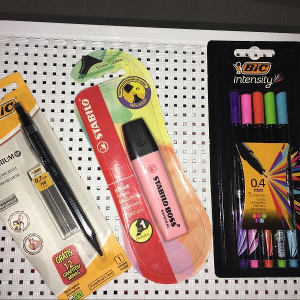 Kit escolar com canetas coloridas/ lapiseira e marca texto