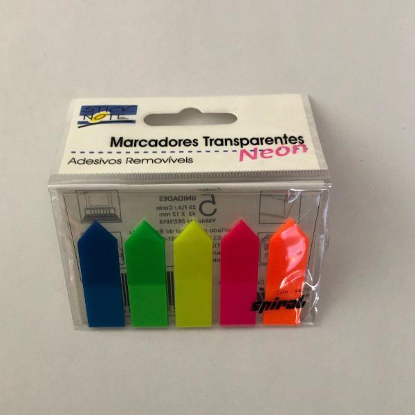 Marcador de página 42x12mm c/ 5 cores transparente