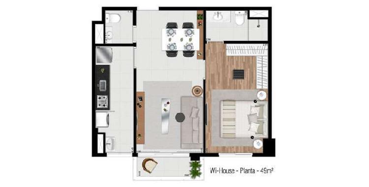 Locação mobiliado 49 m² com 1 suite alphaville centro