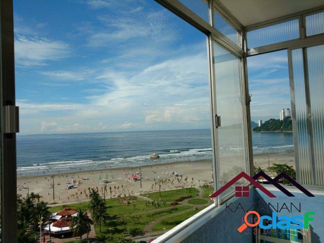 Vista para o mar 1 dormitório sala cozinha amplo itararé são vicente