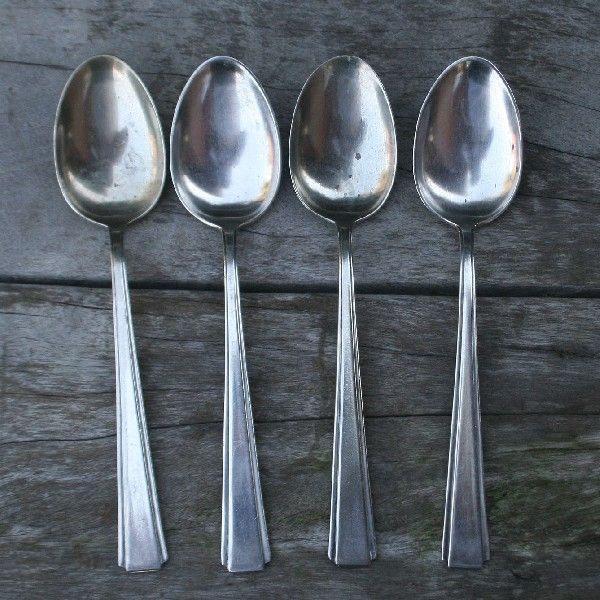 4 colheres de sopa em metal e prata - art decô - fracalanza