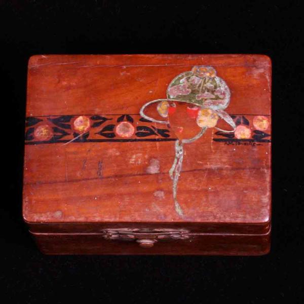 Porta-jóias em madeira dos anos 30 com marqueterrie