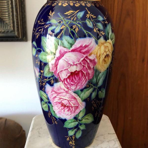 Antigo grande vaso porcelana francesa limoges assinado