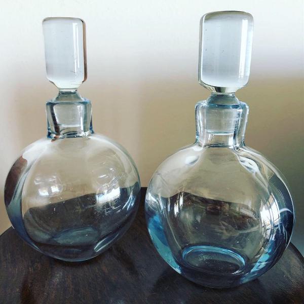 Antigo par de perfumeiros murano art deco