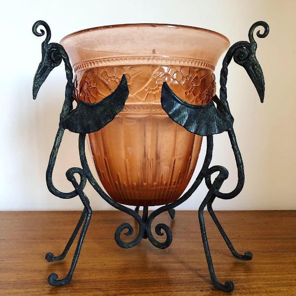 Antigo vaso art deco vidro francês