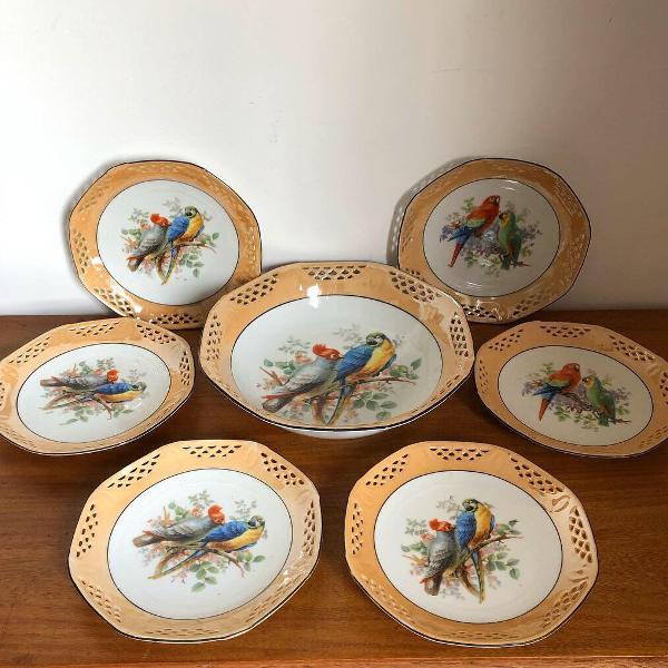 Antigos pratos conjunto tigelas porcelana alemã