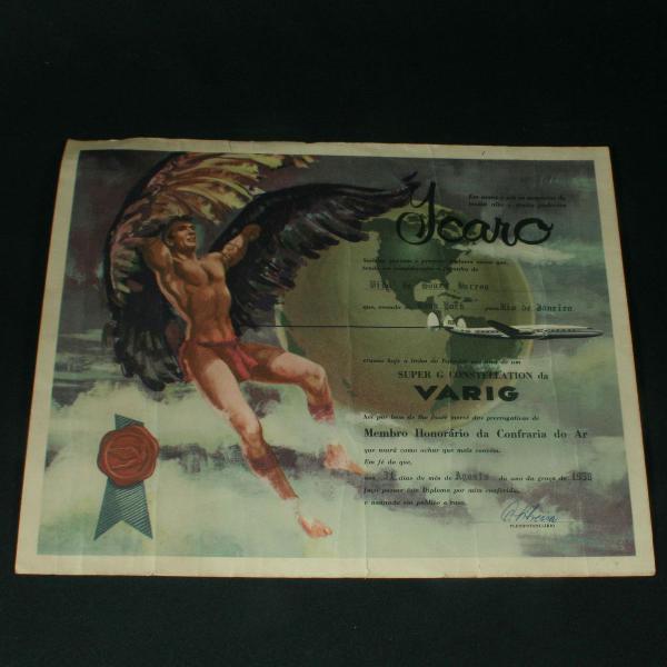 Diploma da varig pela passagem da linha do equador - 1958