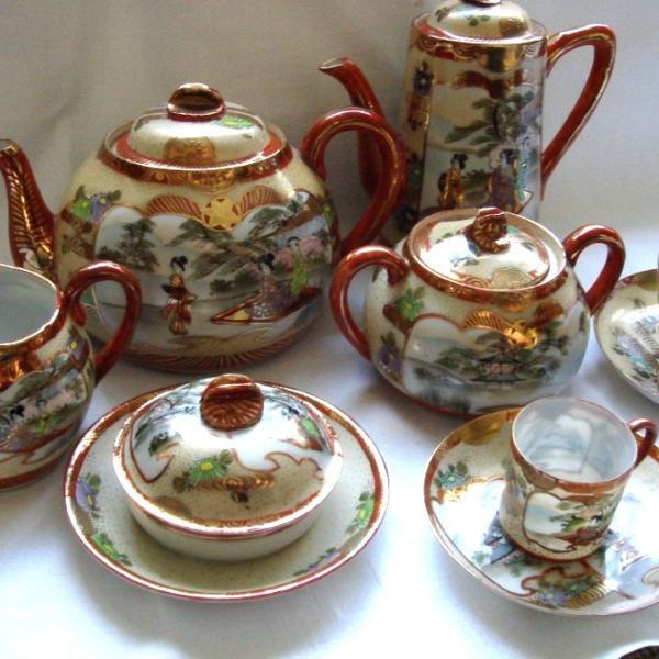 Jogo chá chines porcelana antiguidade