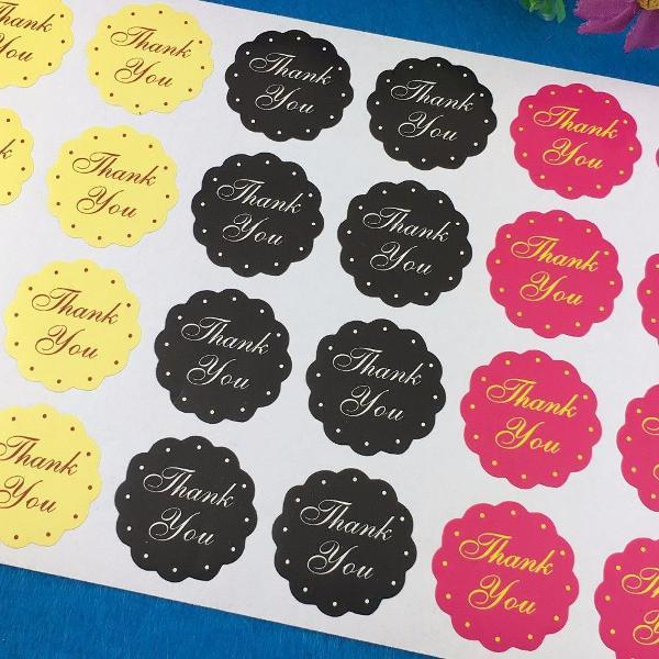 06 cartelas com 144 etiquetas adesivas thank you - 03 cores