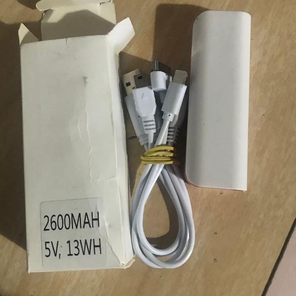 Bateria portátil externa carregador usb 2600mah