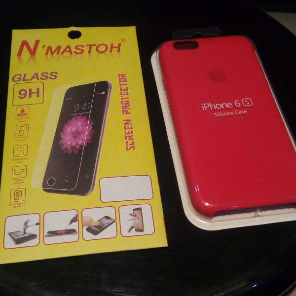 Capinha iphone 6s vermelha + película vidro