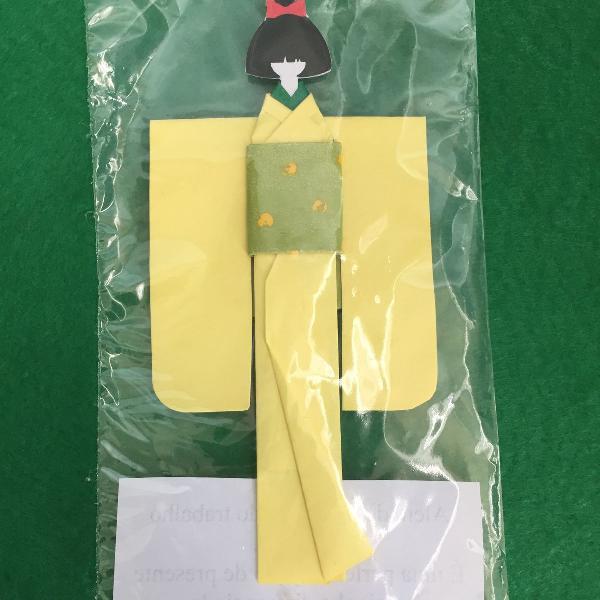 Marcador de livro em origami - amarelo
