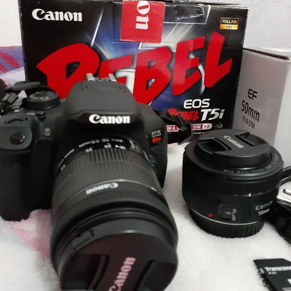 Cânon t5i + lente 50 mm stm + 18- 55