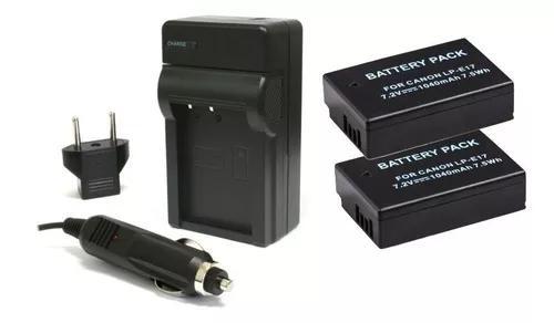 2 baterias lp-e17 carregador p/ canon eos rebel t7i eos 77d