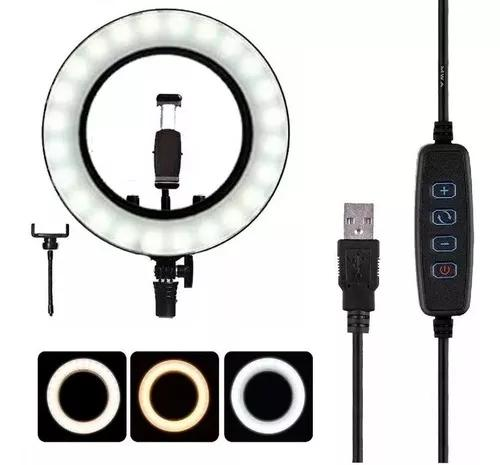 Iluminador De Led Ring Light C/ Dimmer Usb 26cm 3500k 6000k