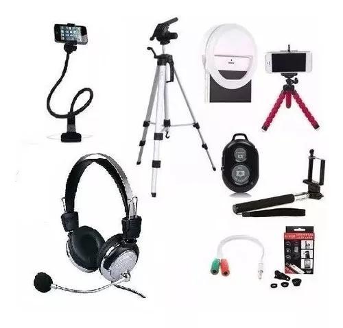 Kit acessórios para tirar foto sozinho celular anel de led