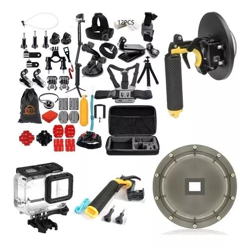 Kit caixa estanque hero 5 6 7 black gopro dome bastão 3 way