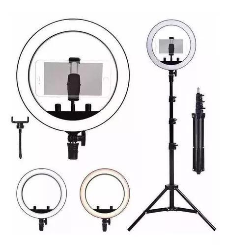 Kit completo ring light com tripé dimmer youtuber selfie