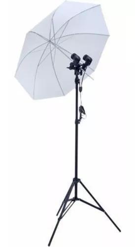 Kit estúdio iluminaçao foto soquete e27 duplo + sombrinha
