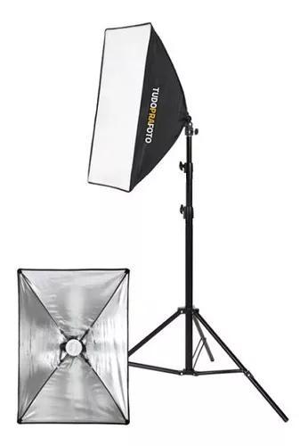 Kit estúdio tripé iluminação 2mt + softbox 50x70 +