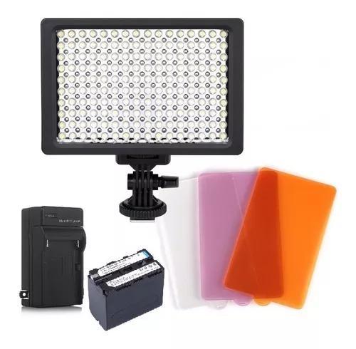 Kit iluminador led pro hd-160 + bateria 6600mah + carregador