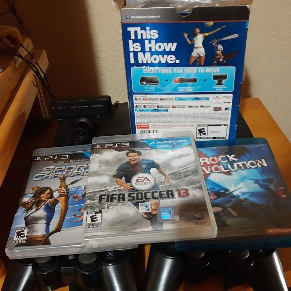 Playstation 3 desbloqueado maravilhoso com kit move