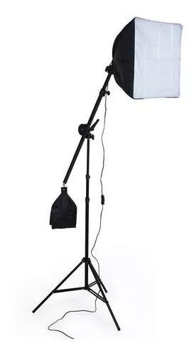 Tripé suporte girafa softbox 40x40 cm soquete e27 de