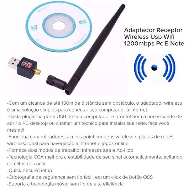 Adaptador receptor wireless usb sem fio antena wifi 1200mbps