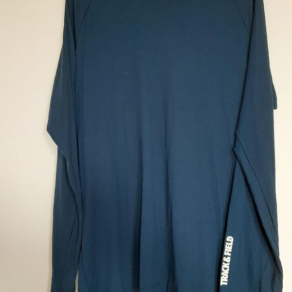 Camisa de manga comprida azul escura para praia proteção