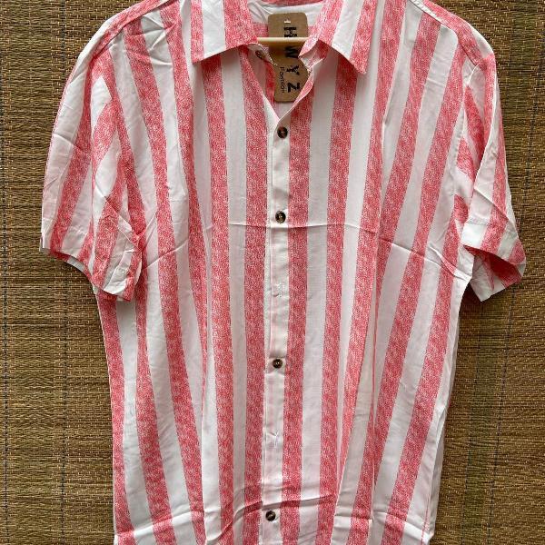 Camisa masculina listrada manga curta