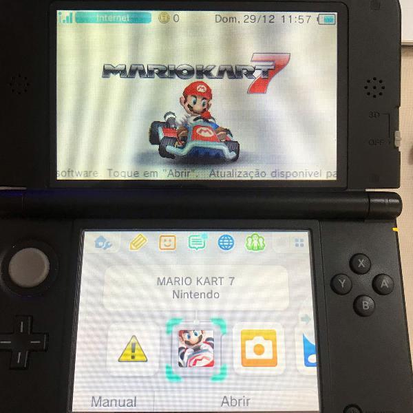 Nintendo 3ds xl + 4 jogos originais mario kart sonic pokemon