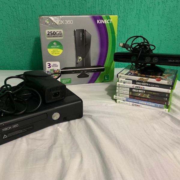 Xbox 360 250gb semi-novo + vários jogos