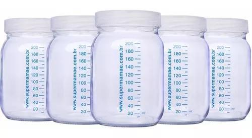 5 potes vidro para leite materno c/ graduação 200ml +