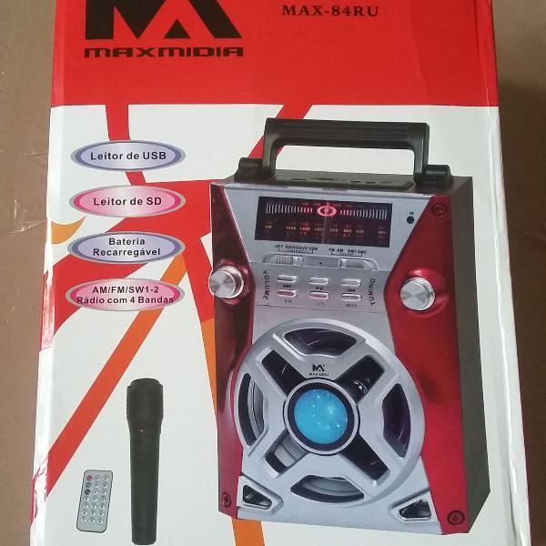 Rádio recarregável portátil maxmidia max 84ru