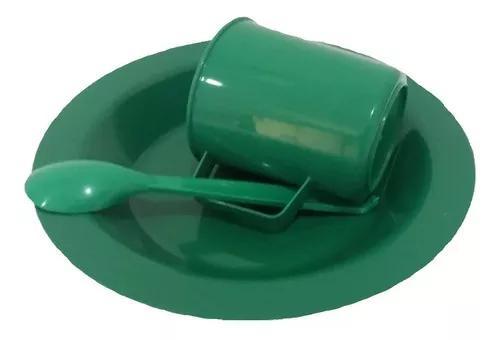 100 kit merenda escolar verde prato colher caneca plástica