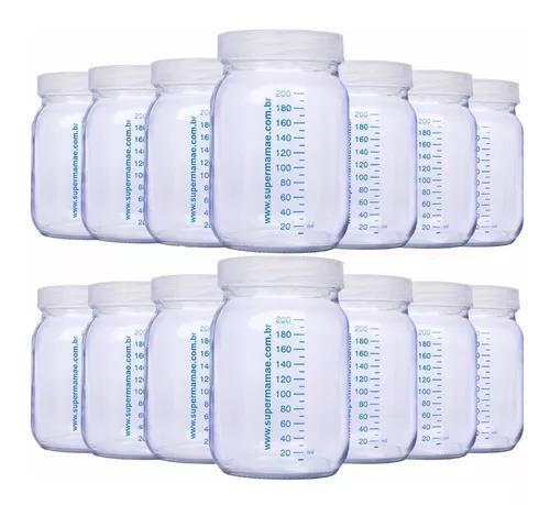 14 potes vidro p/ leite materno c graduação 200ml + brinde