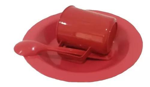 50 kit merenda escolar vermelho prato colher caneca