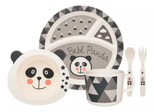 Conjunto refeição infantil com 5 peças bebê panda -