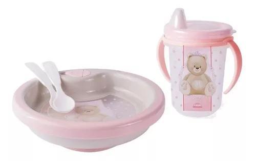 Kit 1 prato térmico+1 copo de treinamento ursa rosa