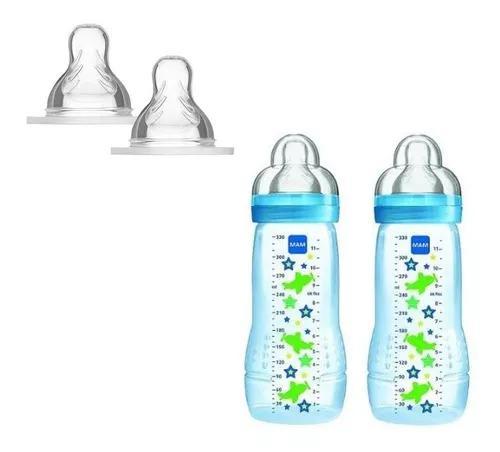 Kit 2 mamadeiras 330ml fashion bottle + bico x mam fluxo 6m+
